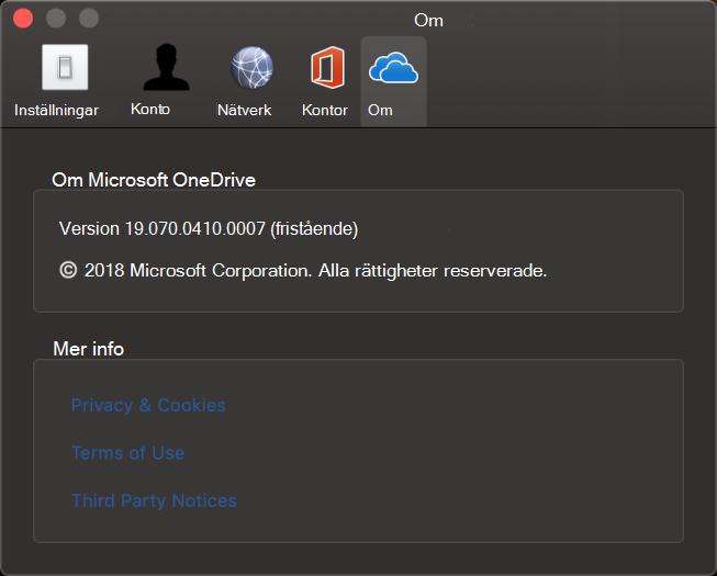 Användargränssnitt för Om i OneDrive för Mac