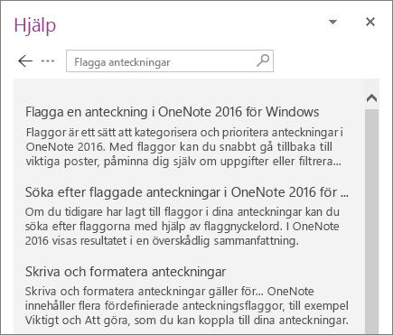 Skärmbild av hjälpfönstret i OneNote med sökresultat för märkningskommentar.