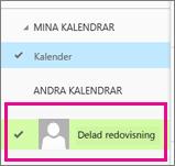 Outlook Web App med en vald delad postlådekalender