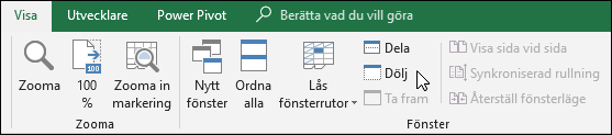 Dölja eller visa en arbetsbok från vyn > Windows > Visa/Dölj