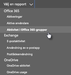 Välj en rapport – Office 365-grupper