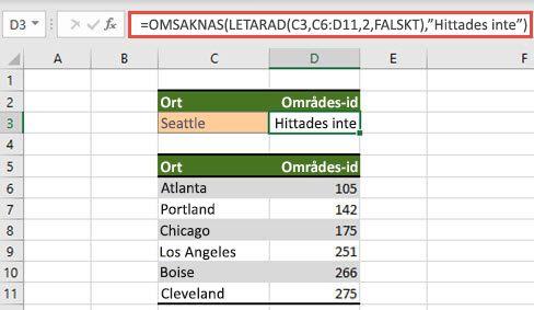 Bild av hur OMNA används med LETARAD för att förhindra att #N/A-fel visas.