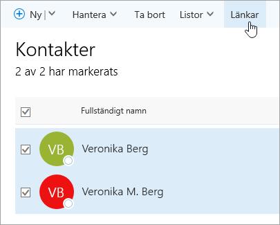 En skärmbild av knappen Länk på sidan Kontakter.