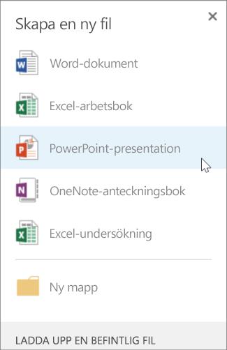Skapa en ny PowerPoint-presentation