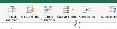Excel-verktygsfältets datameny med Dataverifiering markerat