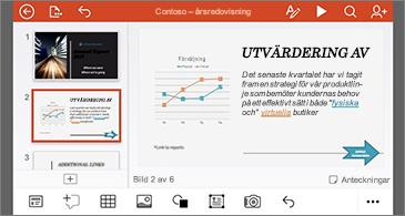Presentation med länkar som formaterats med olika färger