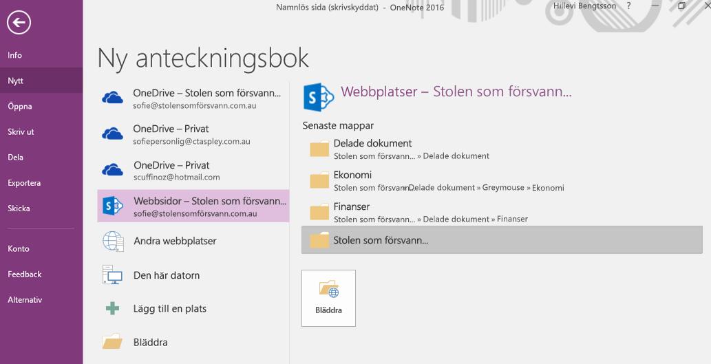 OneNote för Windows 2016, gränssnitt för val av mapp för Ny anteckningsbok