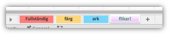 Skärmbild av kalkylbladsflikar som innehåller färger som fyller hela fliken.