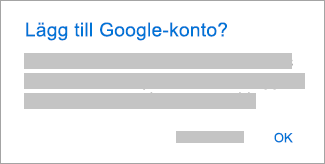 Tryck på OK om du vill ge Outlook åtkomst till dina konton.