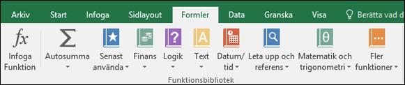 Fliken Formler i menyfliksområdet i Excel
