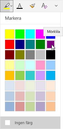 Knappen Färgöverstrykning med listruta med mörklila valt