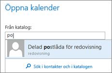 Dialogrutan Öppna kalender i Outlook Web App
