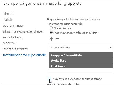 anpassad lista över tillåtna avsändare för en gemensam mapp för att lösa DSN 5.7.135