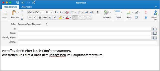 Mening på engelska och mening på tyska med ett felstavat ord i tyskan. Stavfelet är understruket med ett rött streck.