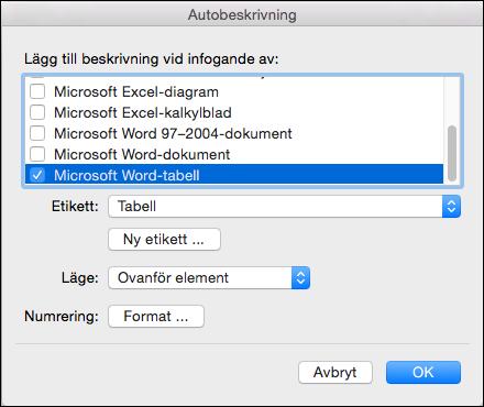 Lägga till beskrivningar automatiskt till nya tabeller och andra objekt som du har infogat
