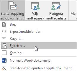 Klicka på Starta koppling av dokument och välj Etiketter för att skapa ett etikettark att koppla till.