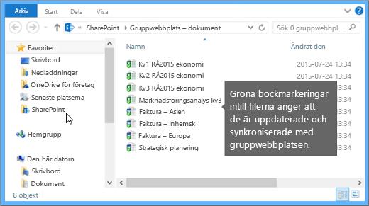 Använd Utforskaren för att navigera till den synkroniserade filen på skrivbordet. Den ligger i SharePoint-mappen.