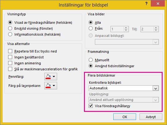 Bildskärmsalternativ i dialogrutan Inställningar för bildspel