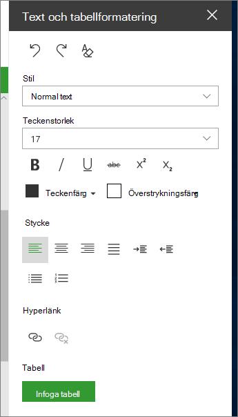 Öppna text och tabellformateringen sida