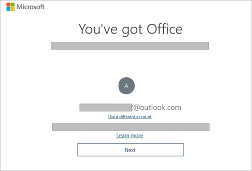 Visar skärmen som visas när du köper en ny enhet med en licens för Office. Denna skärm visar att Office hittade ditt befintliga Microsoft-konto.