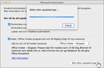Söka efter uppdateringar för Insider – långsamt på Mac