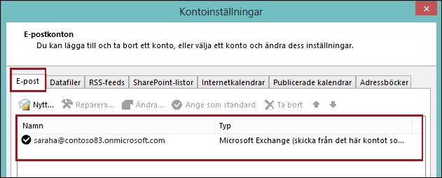 Kontotyp i Outlook