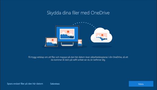 Skärmbild av Skydda dina filer med OneDrive i Windows 10-konfigurationen