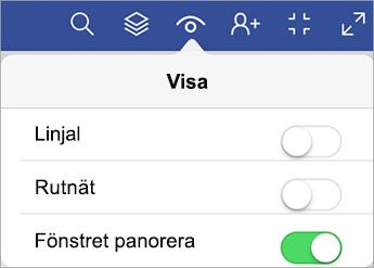 Kommandot för panoreringsfönstret finns i Visa-menyn.