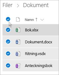 Skärmbild av hur du markerar alla filer och mappar i OneDrive