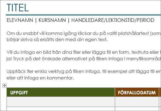 Den nya mallen Projektuppgiftslista med en minsta teckenstorlek på 11 punkter.