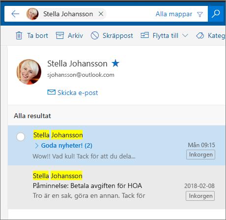 Söka efter en person för att se alla e-postmeddelanden