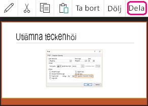 Kommandot Dela i PowerPoint för Android