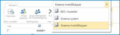 Skärmdump på val för BCS-datakatalogvyer.