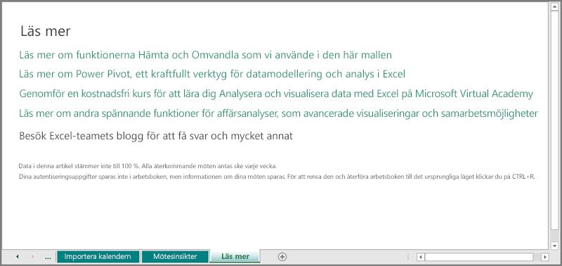Arbetsbladet Mer information