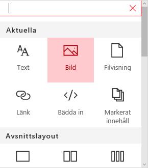 Skärmbild av webbdelsmarkering i bild i SharePoint.