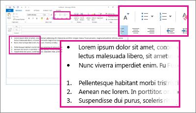 Exempel på numrerade listor och punktlistor i ett meddelande