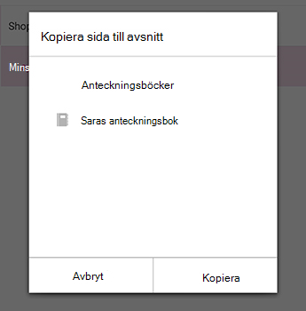 Menyn Kopiera sida i OneNote för Android
