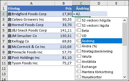 Länkad datatyp för aktier