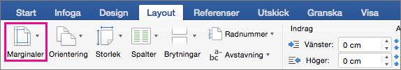 Alternativet Marginaler är markerat på fliken Layout.