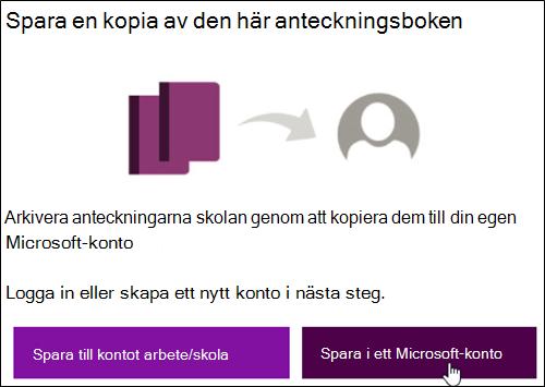 Spara till ett Microsoft-konto