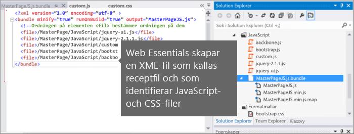 Skärmbild av JavaScript och CSS-receptfil