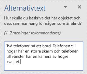 Fönstret Alternativtext med ett exempel på alternativtext i Word för Windows.
