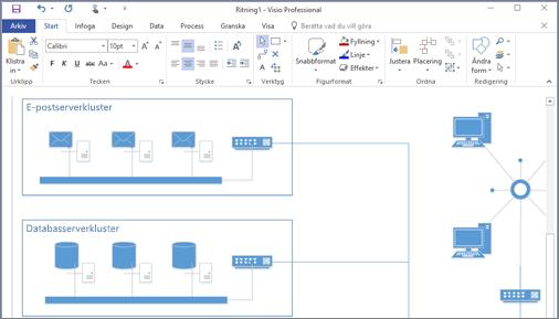 Skärmbild av ett diagram som har skapats i Visio 2016.