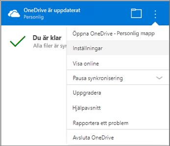 OneDrive-synkronisering i aktivitetscentret med Fler inställningar