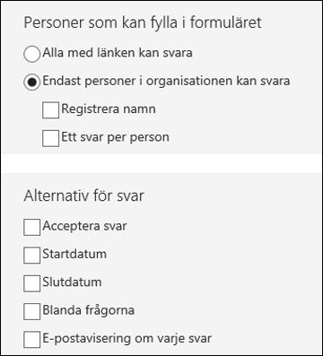 Inställningar för formulär.