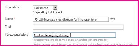 Användare kan lägga till nyckelord i dialogrutan för dokumentegenskaper