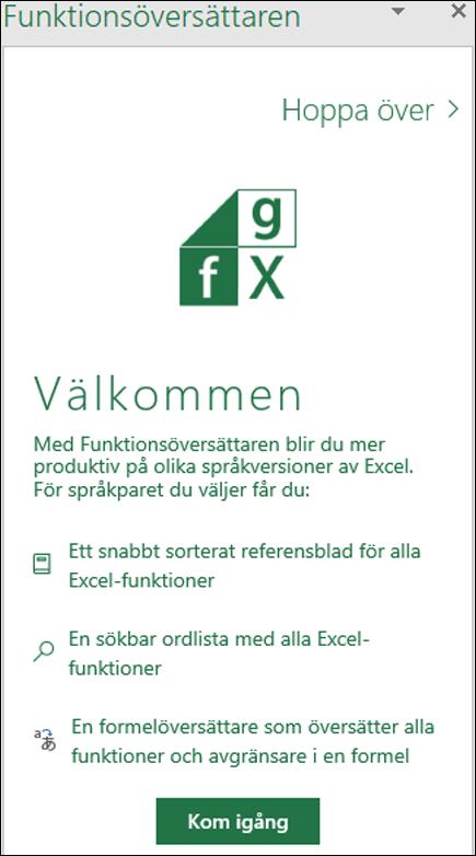 Fönstret Välkommen för Excel Functions Translator