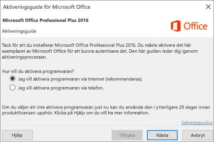 Visar aktiveringsguiden för Office som eventuellt visas när du installerat Office.