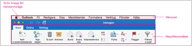 Menyraden i Outlook 2016 för Mac