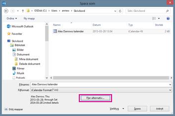 dialogrutan spara som för Outlook-kalender